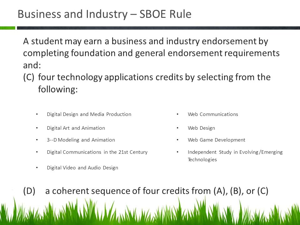 Business and Industry – SBOE Rule Digital Design and Media Production Web Communications Digital Art and Animation Web Design 3-­‐D Modeling and Anima