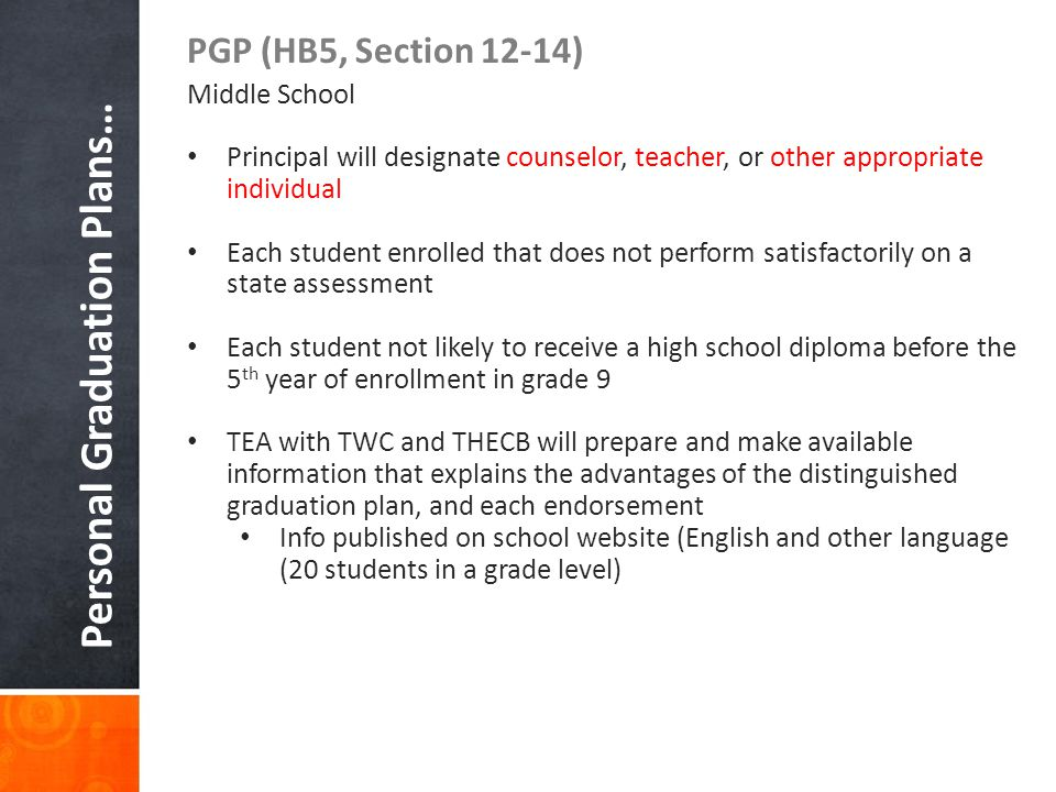 Personal Graduation Plans… PGP (HB5, Section 12-14) Middle School Principal will designate counselor, teacher, or other appropriate individual Each st
