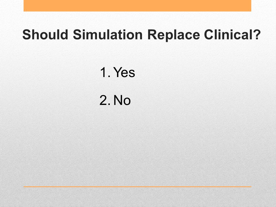 Should Simulation Replace Clinical 1.Yes 2.No