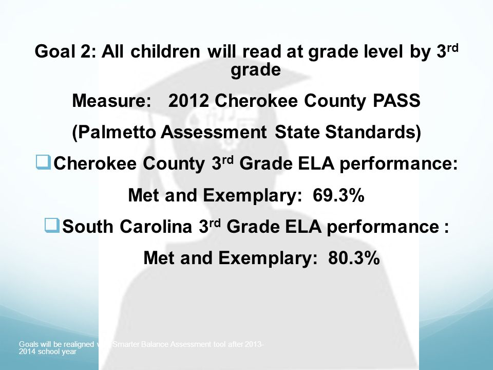 Early Childhood 2015 Interim Goal: 76% Met and Exemplary (increase County by 7%) 2020 Interim Goal: 83% Met & Exemplary (increase 7% & exceed SC rate) 2025 Goal: 90% Met and Exemplary