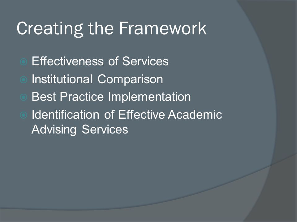 Creating the Framework  Effectiveness of Services  Institutional Comparison  Best Practice Implementation  Identification of Effective Academic Advising Services