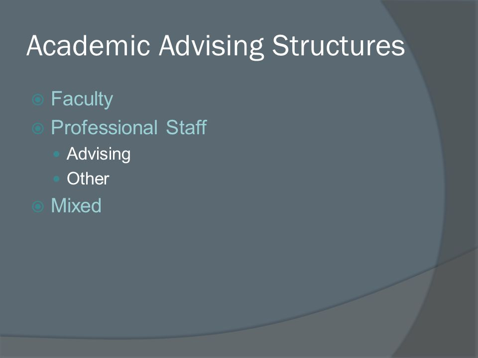 Academic Advising Structures  Faculty  Professional Staff Advising Other  Mixed