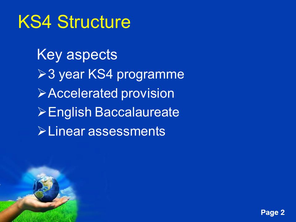 Free Powerpoint Templates Page 2 KS4 Structure Key aspects  3 year KS4 programme  Accelerated provision  English Baccalaureate  Linear assessments