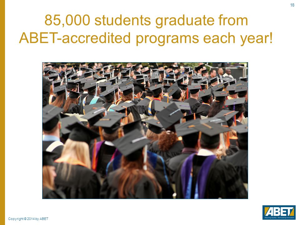 Copyright © 2014 by ABET 18 85,000 students graduate from ABET-accredited programs each year!