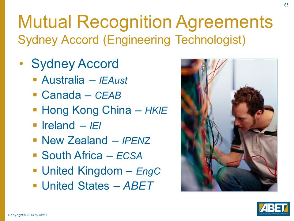 Copyright © 2014 by ABET 65 Sydney Accord  Australia – IEAust  Canada – CEAB  Hong Kong China – HKIE  Ireland – IEI  New Zealand – IPENZ  South