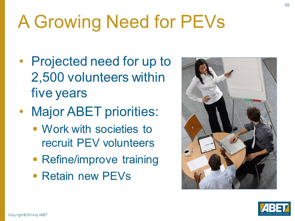 Copyright © 2014 by ABET 69 Projected need for up to 2,500 volunteers within five years Major ABET priorities:  Work with societies to recruit PEV vo