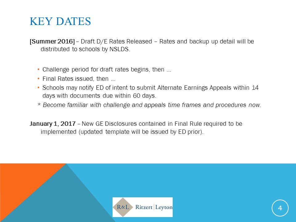 KEY DATES [Summer 2016] – Draft D/E Rates Released – Rates and backup up detail will be distributed to schools by NSLDS. Challenge period for draft ra