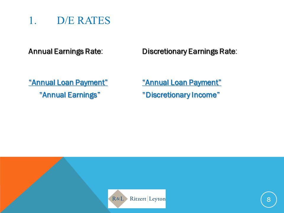 1.D/E RATES Annual Earnings RateDiscretionary Earnings Rate Annual Earnings Rate:Discretionary Earnings Rate: Annual Loan Payment Annual Loan Payment Annual Earnings Discretionary Income 8