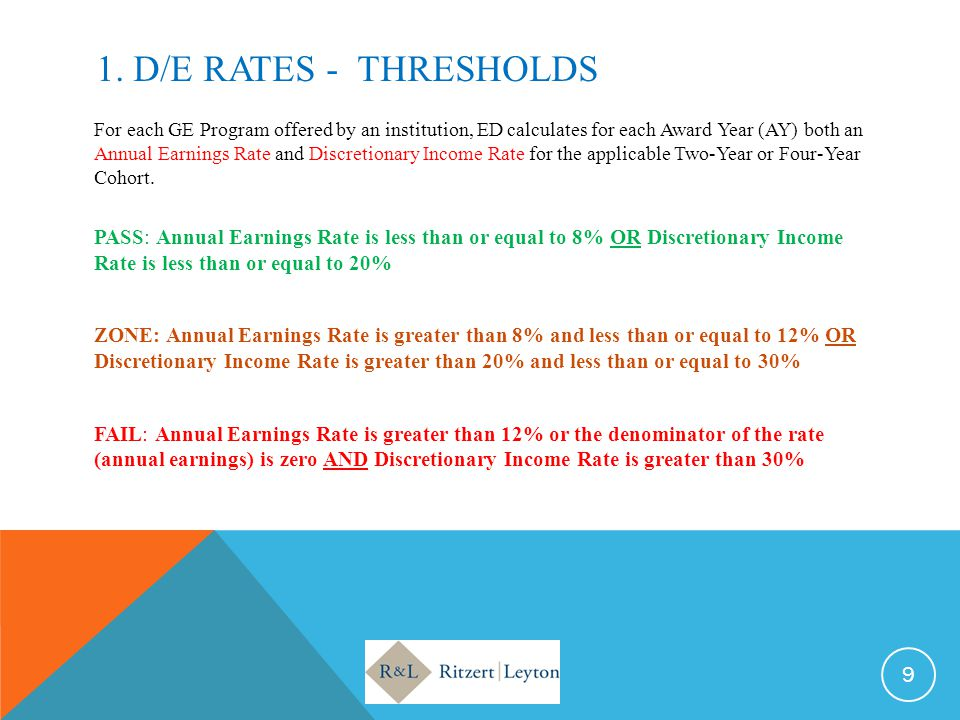 1. D/E RATES - THRESHOLDS For each GE Program offered by an institution, ED calculates for each Award Year (AY) both an Annual Earnings Rate and Discr