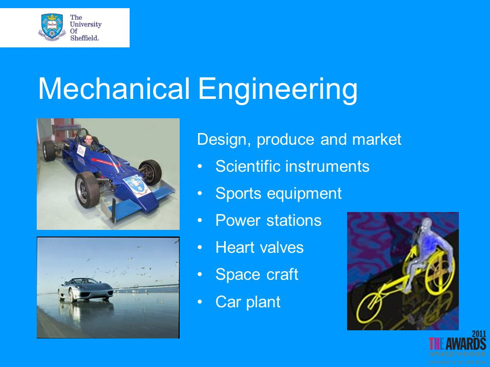 Mechanical Engineering Design, produce and market Scientific instruments Sports equipment Power stations Heart valves Space craft Car plant