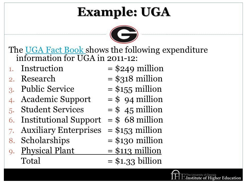 Example: UGA The UGA Fact Book shows the following expenditure information for UGA in 2011-12:UGA Fact Book 1.