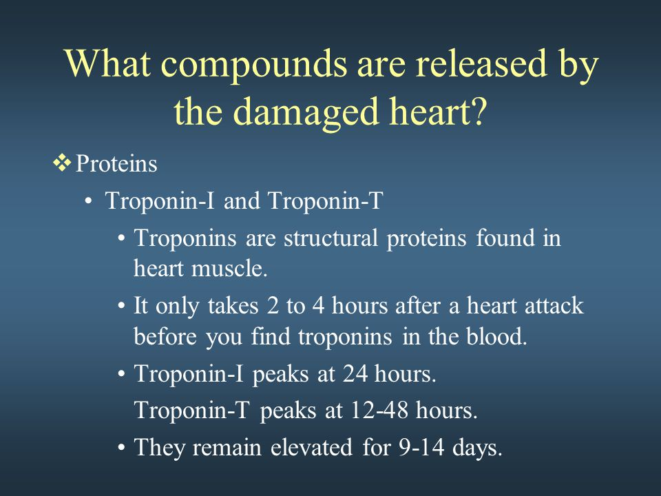 What compounds are released by the damaged heart?  Proteins Troponin-I and Troponin-T Troponins are structural proteins found in heart muscle. It onl