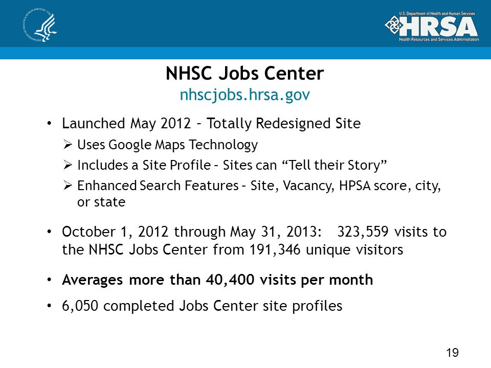 NHSC Jobs Center nhscjobs.hrsa.gov Launched May 2012 – Totally Redesigned Site  Uses Google Maps Technology  Includes a Site Profile – Sites can Tell their Story  Enhanced Search Features – Site, Vacancy, HPSA score, city, or state October 1, 2012 through May 31, 2013: 323,559 visits to the NHSC Jobs Center from 191,346 unique visitors Averages more than 40,400 visits per month 6,050 completed Jobs Center site profiles 19