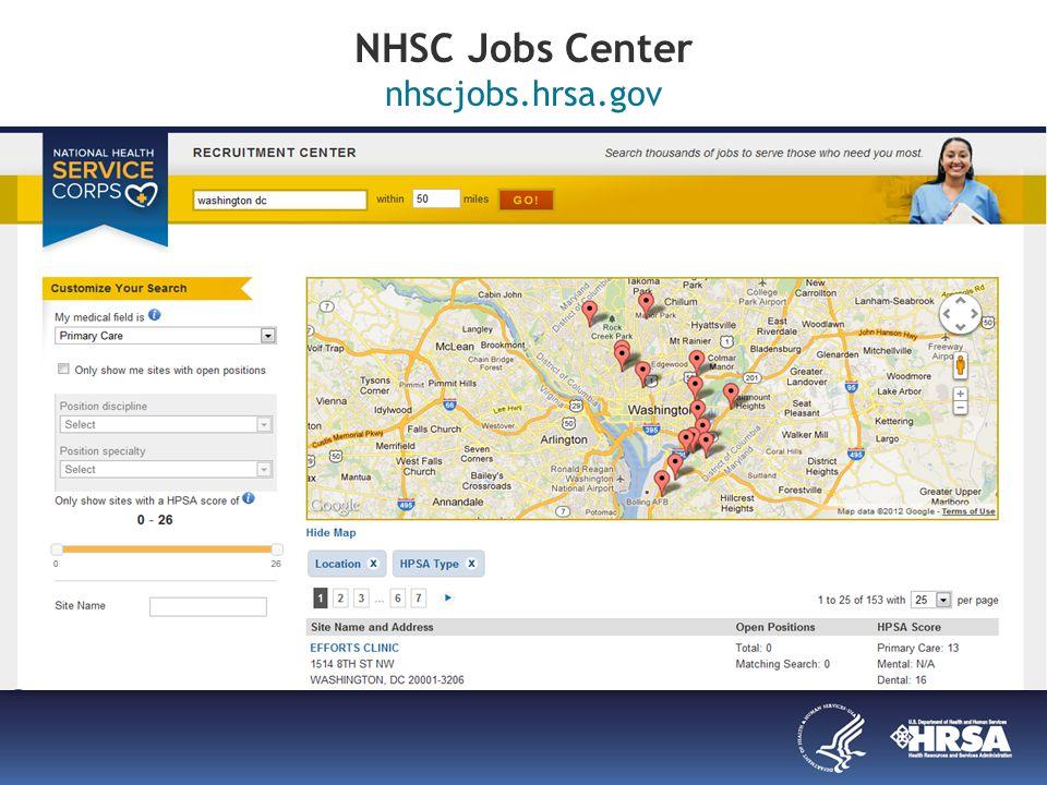 NHSC Jobs Center nhscjobs.hrsa.gov