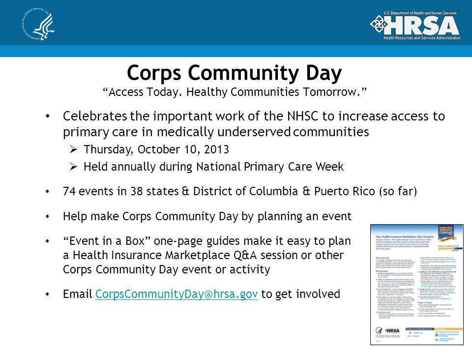 Corps Community Day Access Today.