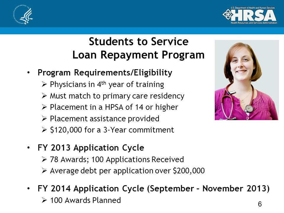 Students to Service Loan Repayment Program Program Requirements/Eligibility  Physicians in 4 th year of training  Must match to primary care residen