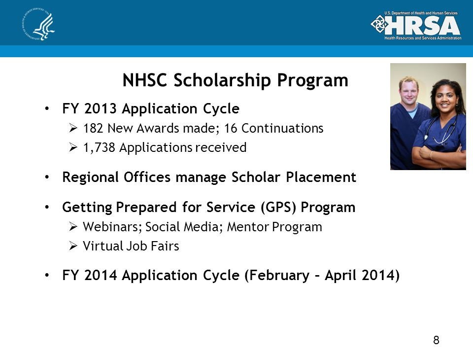 NHSC Scholarship Program FY 2013 Application Cycle  182 New Awards made; 16 Continuations  1,738 Applications received Regional Offices manage Schol