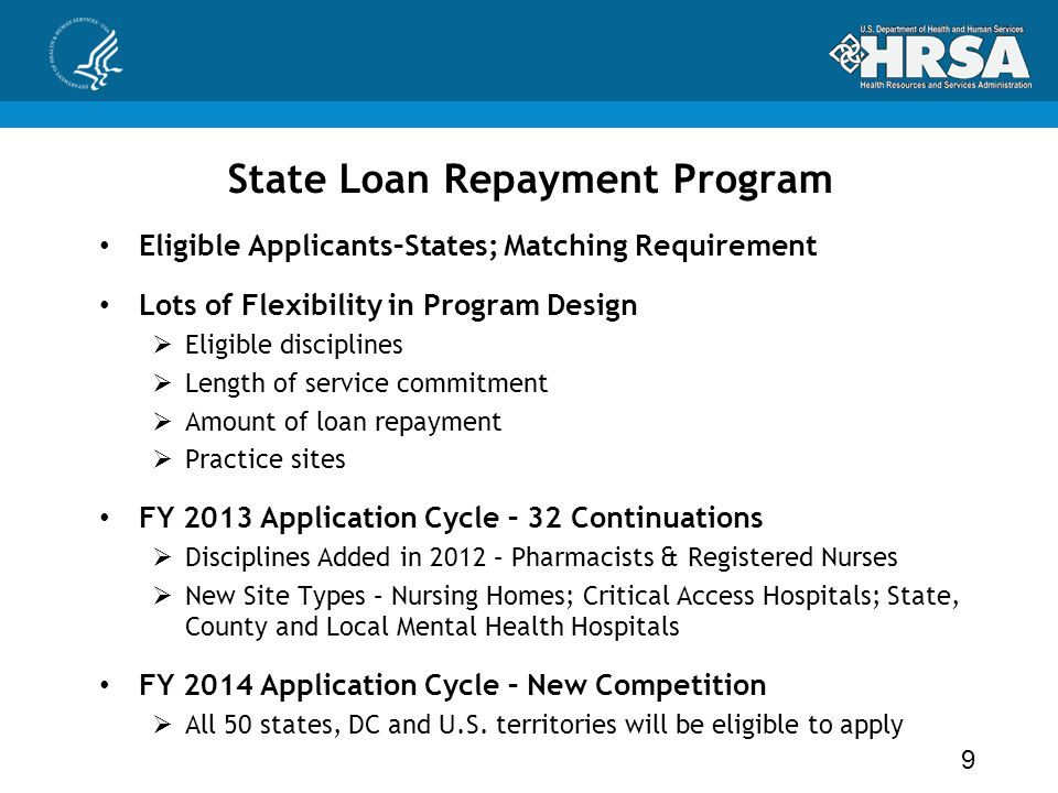 State Loan Repayment Program Eligible Applicants–States; Matching Requirement Lots of Flexibility in Program Design  Eligible disciplines  Length of service commitment  Amount of loan repayment  Practice sites FY 2013 Application Cycle – 32 Continuations  Disciplines Added in 2012 – Pharmacists & Registered Nurses  New Site Types – Nursing Homes; Critical Access Hospitals; State, County and Local Mental Health Hospitals FY 2014 Application Cycle – New Competition  All 50 states, DC and U.S.