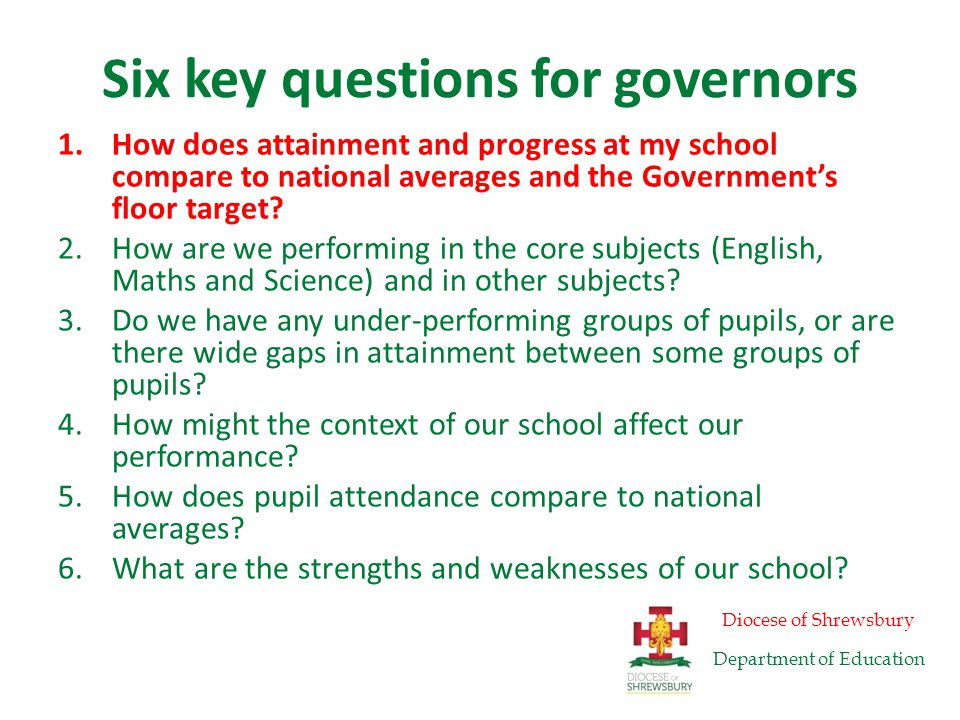 Five key questions for governors 1.How does attainment and progress at my school compare to national averages and the Government's floor target.