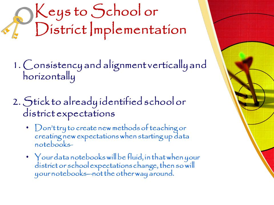 Keys to School or District Implementation 1.Consistency and alignment vertically and horizontally 2.Stick to already identified school or district exp