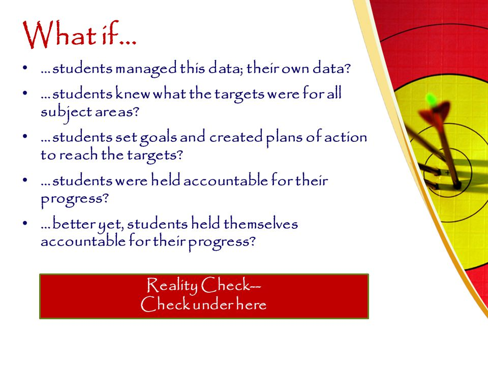 What if… …students managed this data; their own data? …students knew what the targets were for all subject areas? …students set goals and created plan