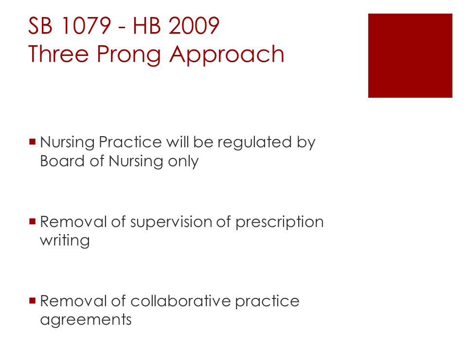 SB 1079 - HB 2009 Three Prong Approach  Nursing Practice will be regulated by Board of Nursing only  Removal of supervision of prescription writing