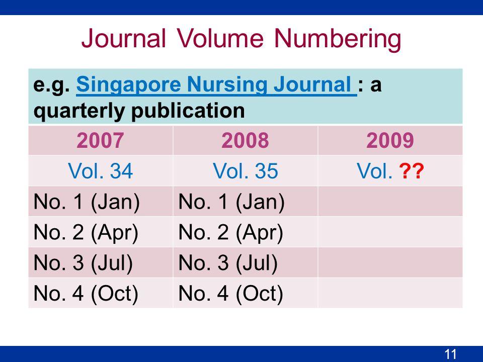 e.g. Singapore Nursing Journal : a quarterly publicationSingapore Nursing Journal 200720082009 Vol.