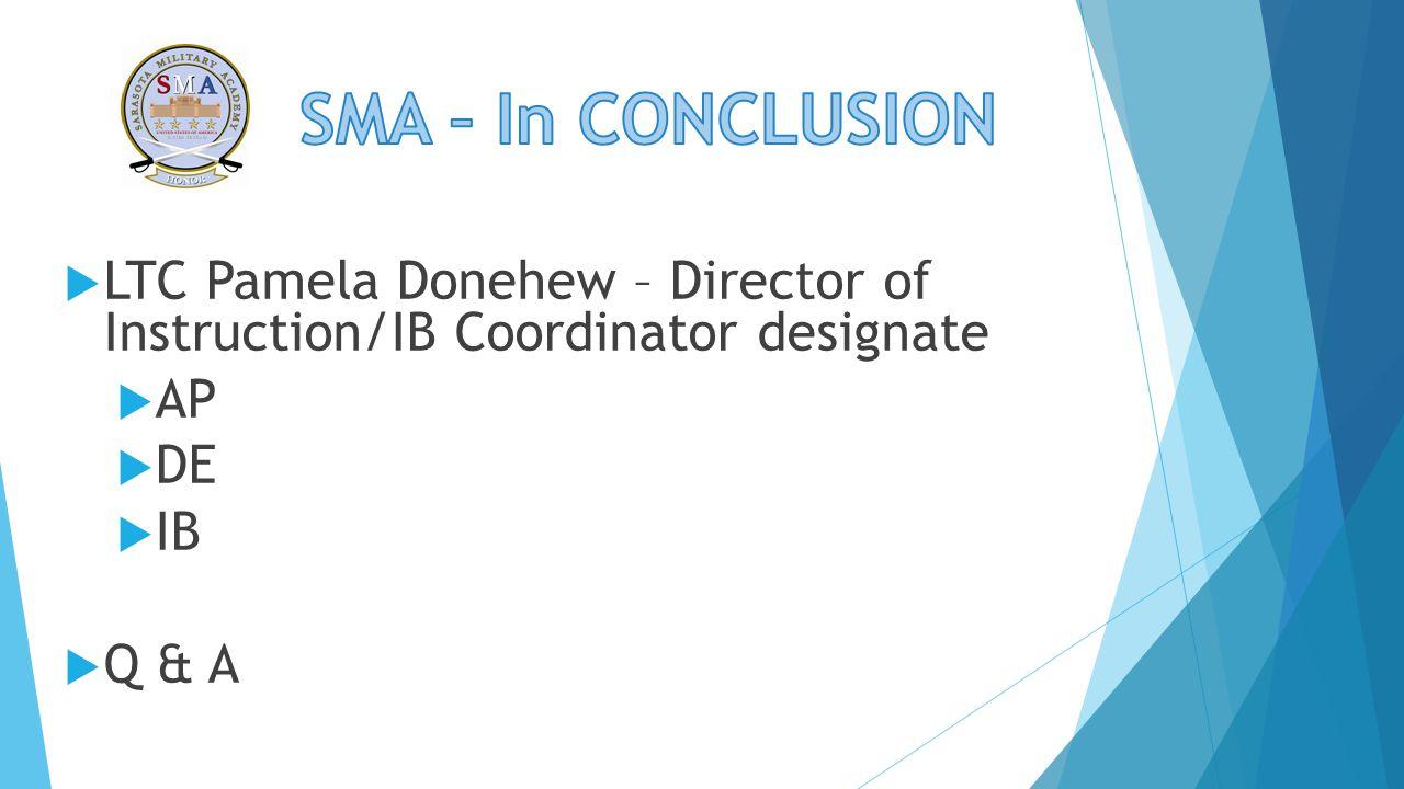  LTC Pamela Donehew – Director of Instruction/IB Coordinator designate  AP  DE  IB  Q & A