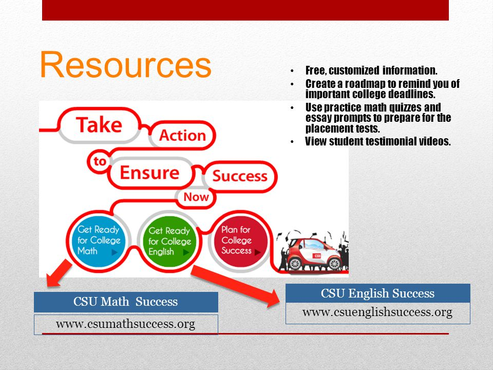 Resources CSU English Success www.csuenglishsuccess.org CSU Math Success www.csumathsuccess.org Free, customized information. Create a roadmap to remi