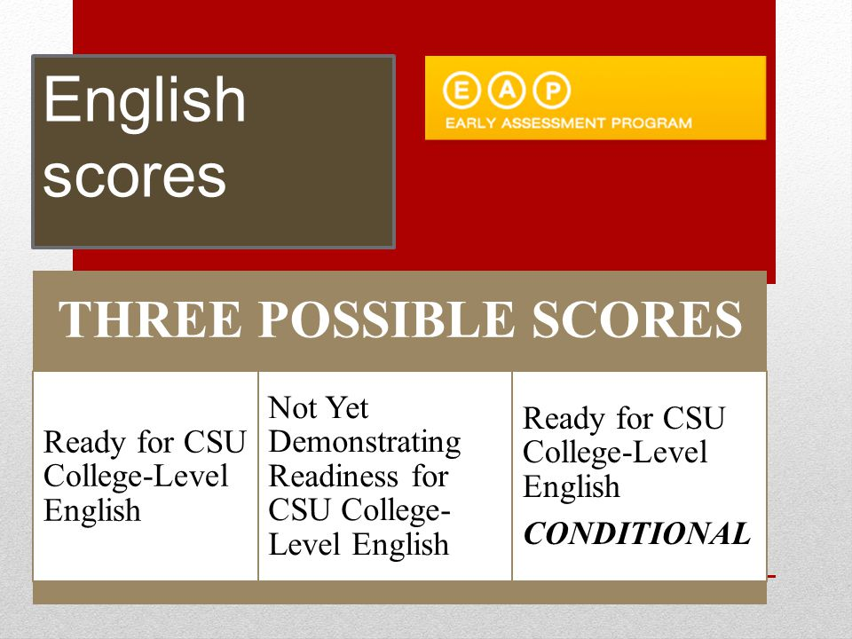 Conditionally Exempt Status: English Completion of an approved senior English course with a grade of C or better: Expository Reading and Writing Course (ERWC course) AP English Language and Composition AP English Literature and Composition International Baccalaureate (IB) English Weighted Honors English course (indicated on UC doorways with a )