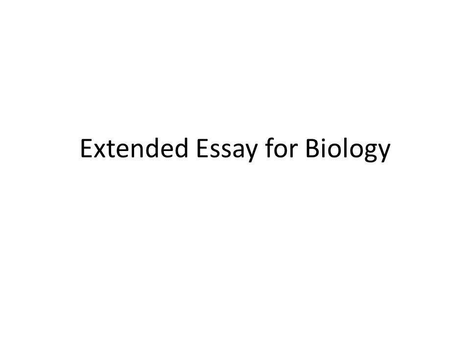 Extended Essay for Biology
