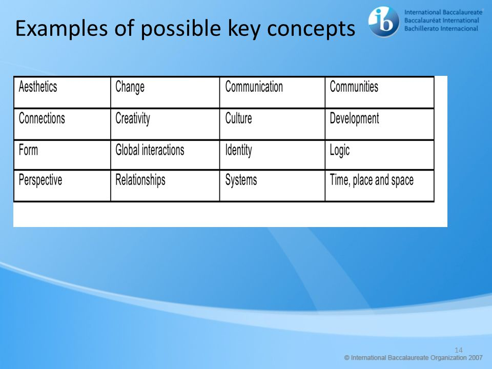 14 Examples of possible key concepts