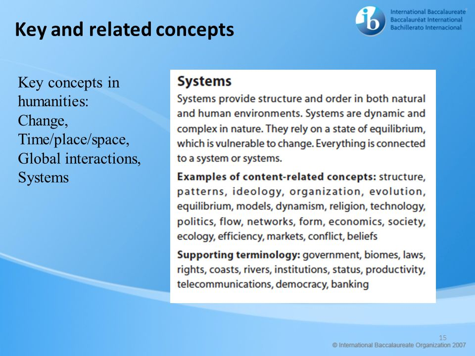 Key and related concepts 15 Key concepts in humanities: Change, Time/place/space, Global interactions, Systems
