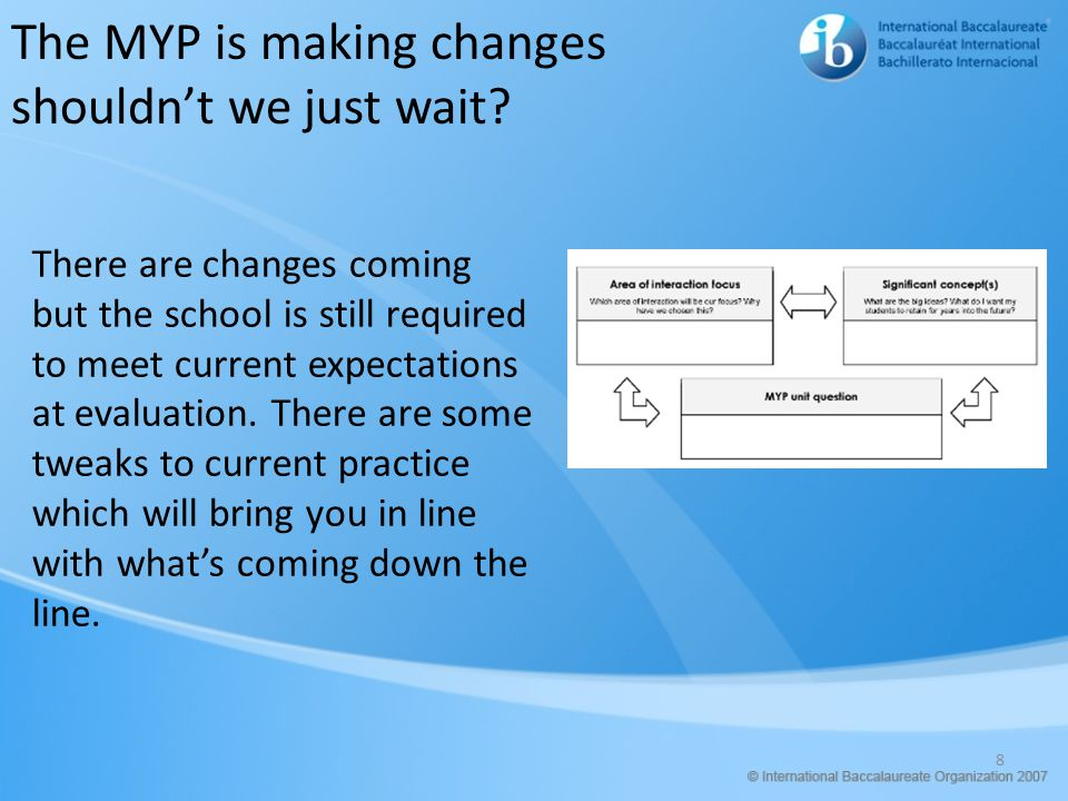 8 The MYP is making changes shouldn't we just wait.