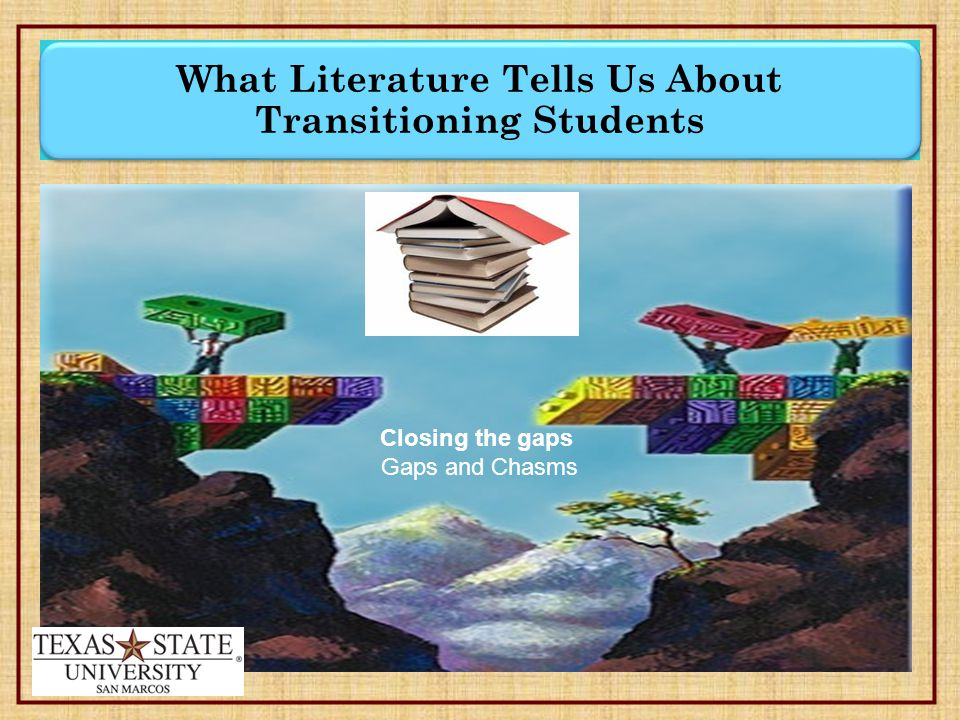 What Literature Tells Us About Transitioning Students Closing the gaps Gaps and Chasms