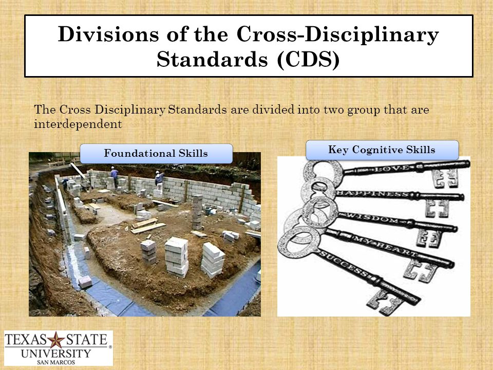 Divisions of the Cross-Disciplinary Standards (CDS) The Cross Disciplinary Standards are divided into two group that are interdependent Foundational SkillsKey Cognitive Skills