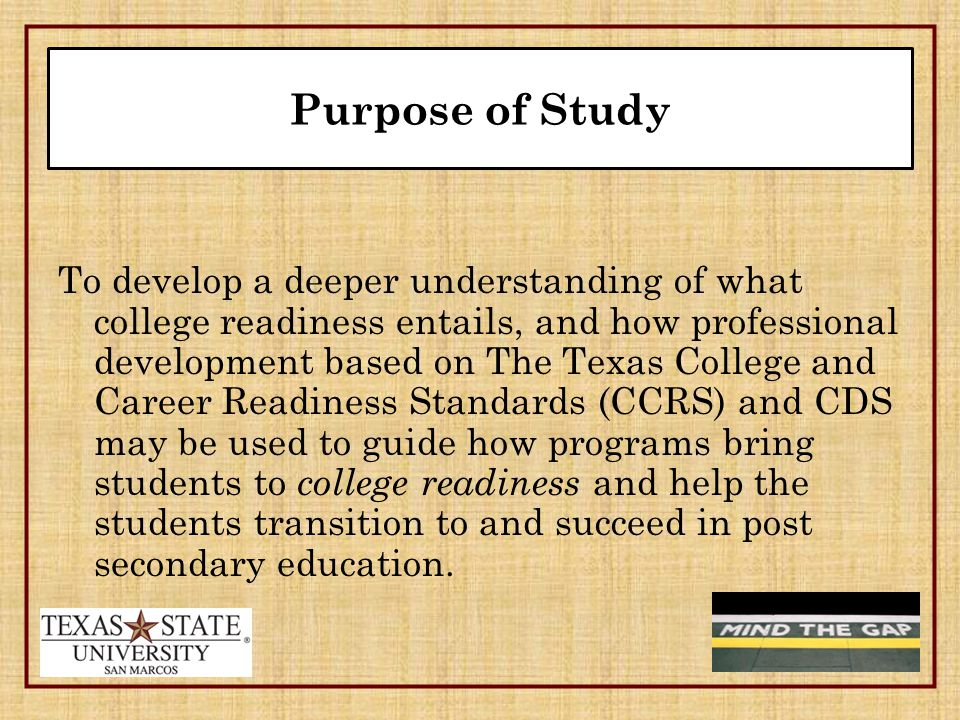 The Importance of CCRS and CDS The more standards a student can demonstrate successfully [for each subject], the more likely it is that he or she will be college ready ( Texas Higher Education Coordinating Board, 2008, p.
