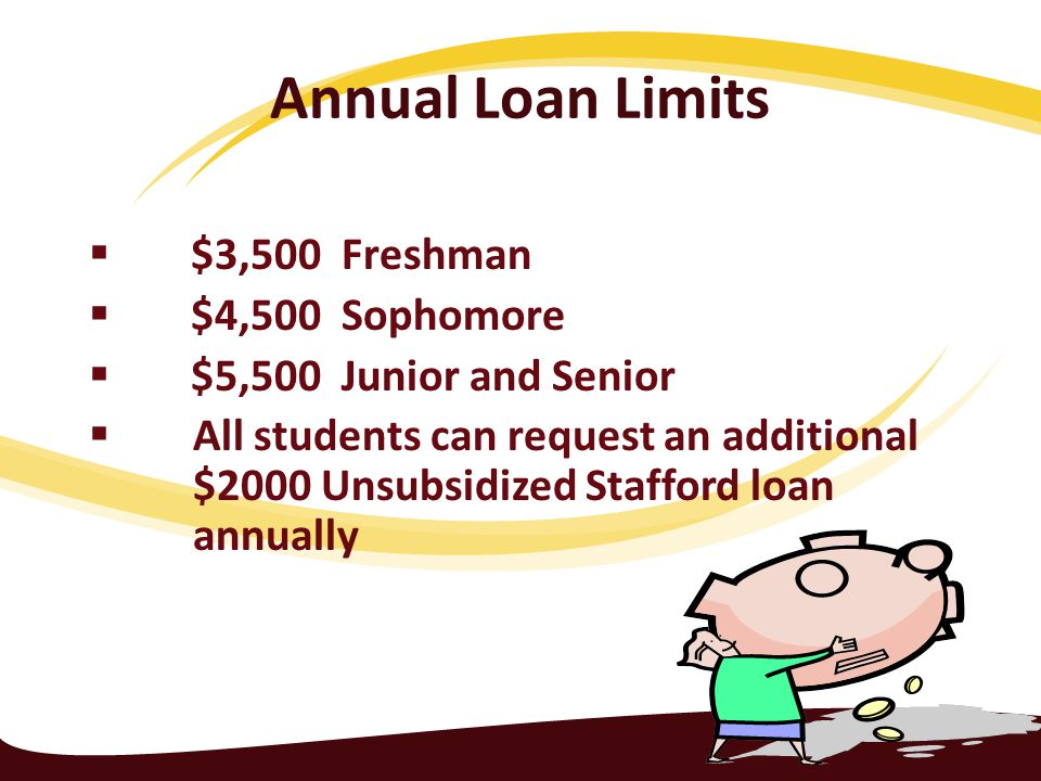 Annual Loan Limits  $3,500 Freshman  $4,500 Sophomore  $5,500 Junior and Senior  All students can request an additional $2000 Unsubsidized Stafford loan annually