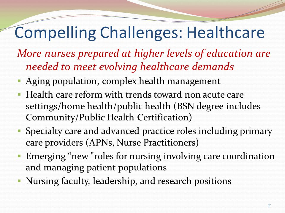 Compelling Challenges: Healthcare More nurses prepared at higher levels of education are needed to meet evolving healthcare demands  Aging population, complex health management  Health care reform with trends toward non acute care settings/home health/public health (BSN degree includes Community/Public Health Certification)  Specialty care and advanced practice roles including primary care providers (APNs, Nurse Practitioners)  Emerging new roles for nursing involving care coordination and managing patient populations  Nursing faculty, leadership, and research positions F