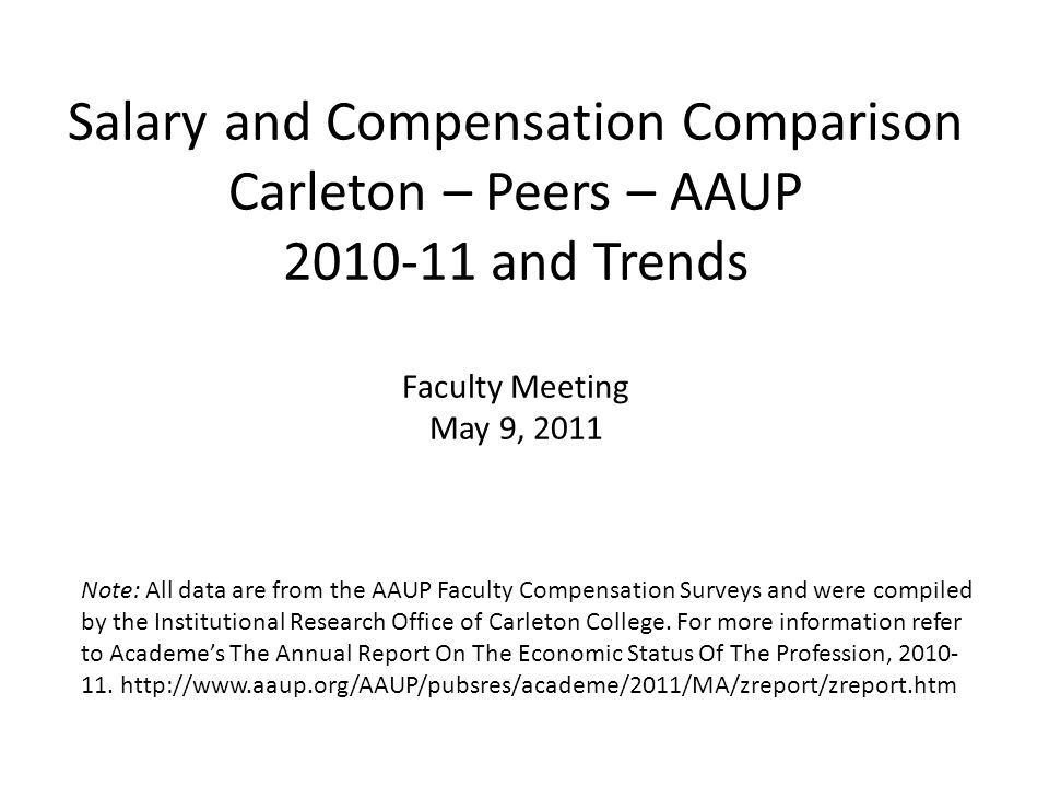 Salary and Compensation Comparison Carleton – Peers – AAUP 2010-11 and Trends Faculty Meeting May 9, 2011 Note: All data are from the AAUP Faculty Com
