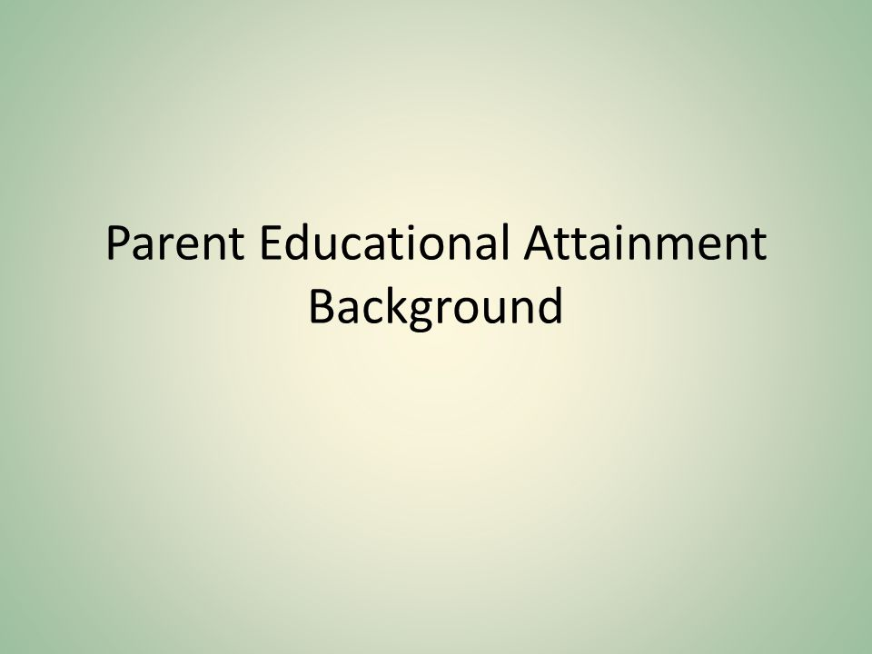 Parent Educational Attainment Background
