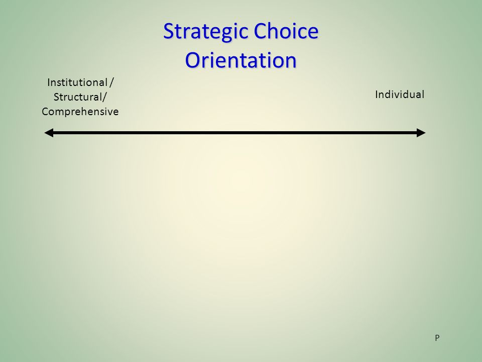 Strategic Choice Orientation P Individual Institutional / Structural/ Comprehensive