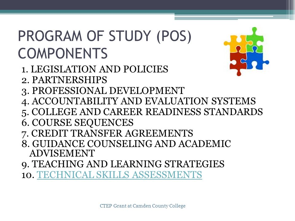 PROGRAM OF STUDY (POS) COMPONENTS 1. LEGISLATION AND POLICIES 2.