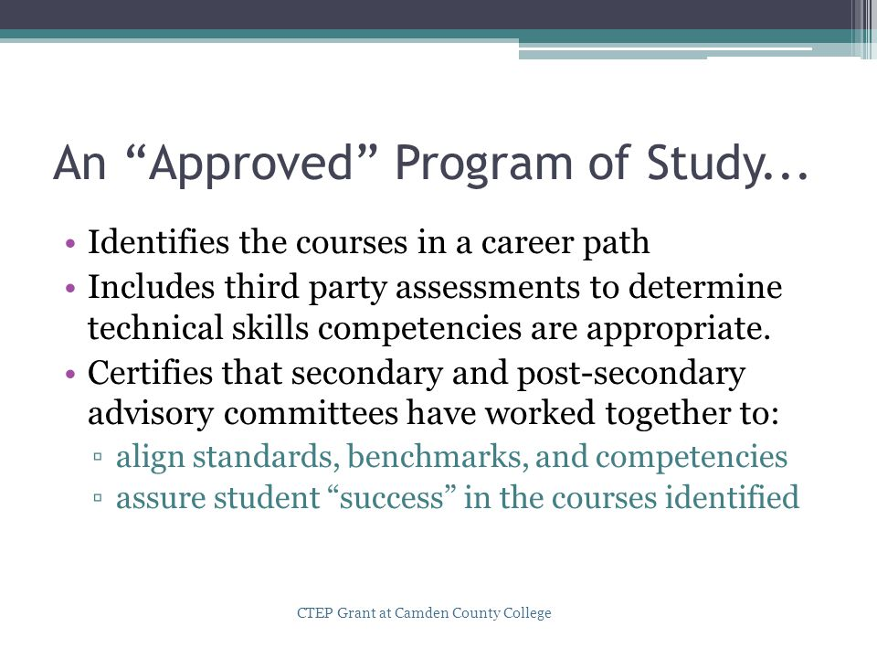 An Approved Program of Study...