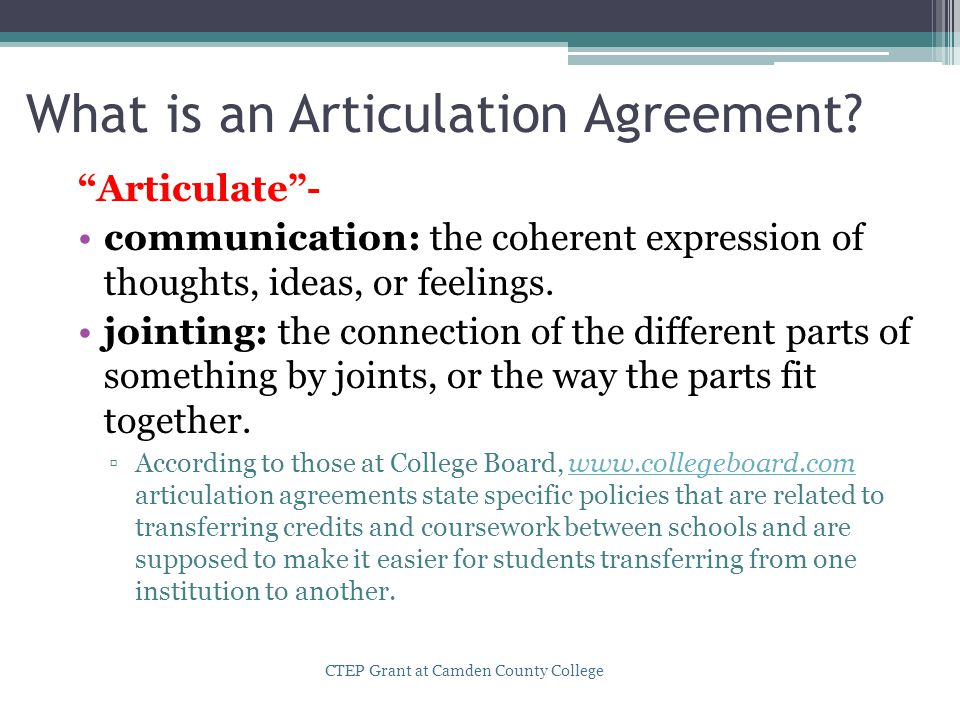 What is an Articulation Agreement.