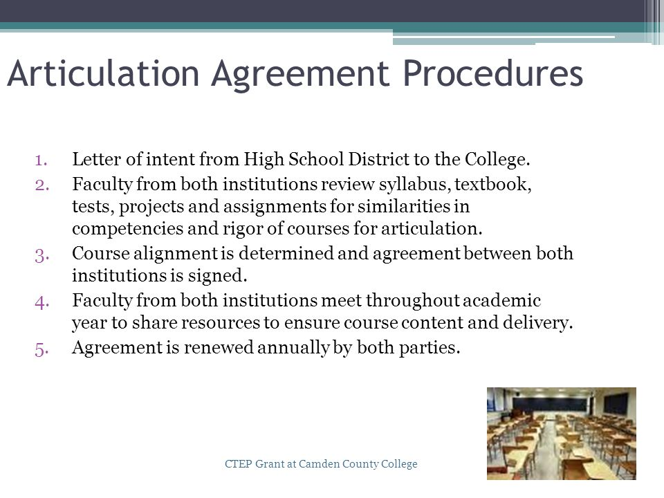 Articulation Agreement Procedures 1.Letter of intent from High School District to the College. 2.Faculty from both institutions review syllabus, textb