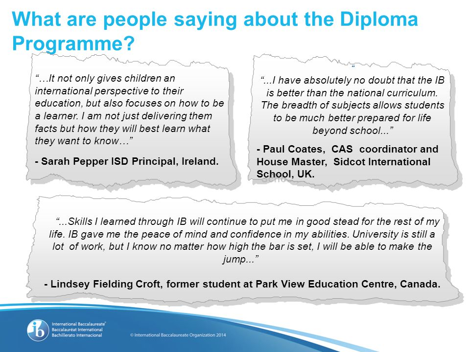 What are people saying about the Diploma Programme.