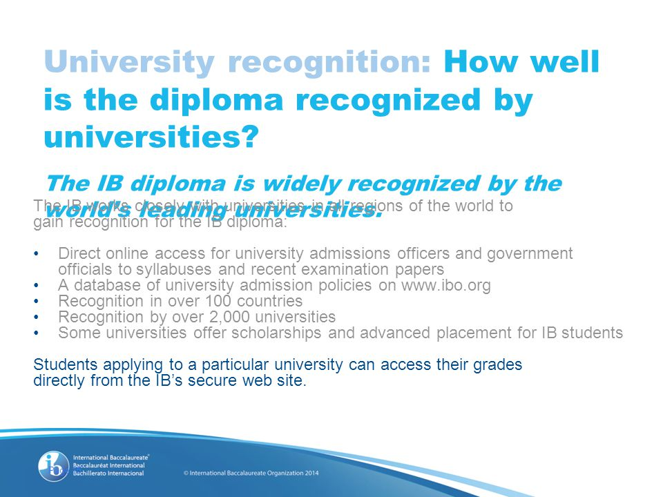 Page 15 University recognition: How well is the diploma recognized by universities.