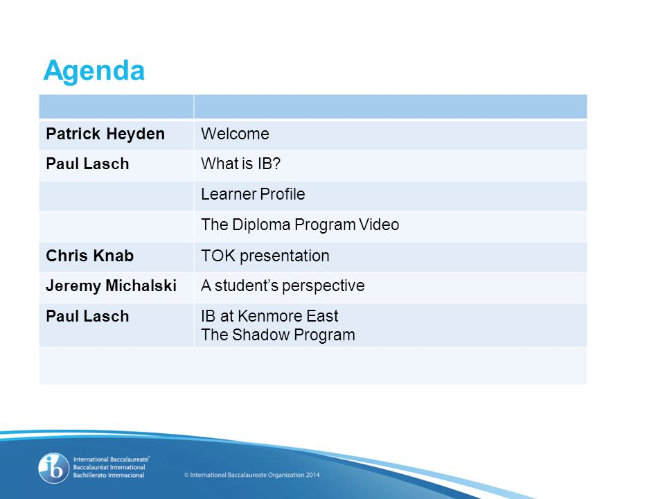 Agenda Patrick HeydenWelcome Paul LaschWhat is IB.