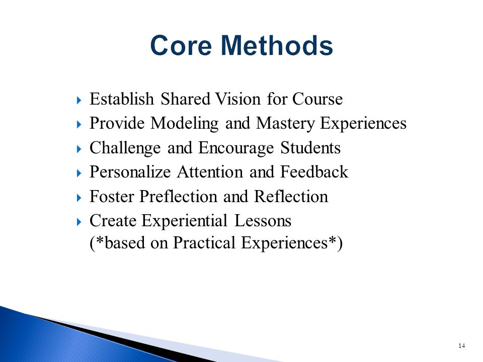  Establish Shared Vision for Course  Provide Modeling and Mastery Experiences  Challenge and Encourage Students  Personalize Attention and Feedback  Foster Preflection and Reflection  Create Experiential Lessons (*based on Practical Experiences*) 14